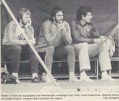 From the left: Guido Kratschmer, Siegfried Wentz and Jürgen Hingsen. However, Hingsen's start is very questionable.