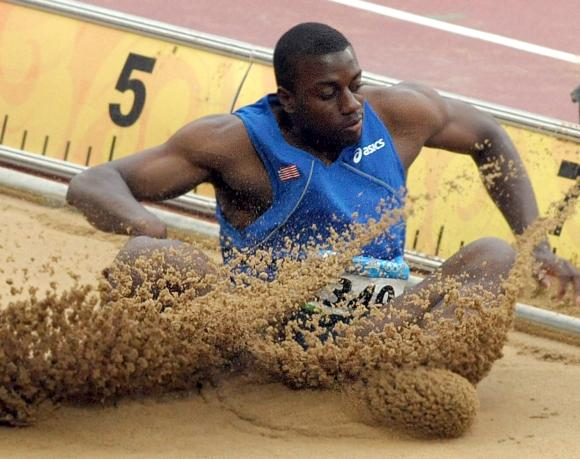 Liberia's Jangy Addy during the Long Jump at the 2008 Olympics in Beijing - Author: UPI Photo/Roger L. Wollenberg