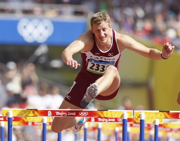 Janis Karlivans of Latvia competes during his 110m hurdles at the Olympic Games Beijing 2008 / Reuters Picture