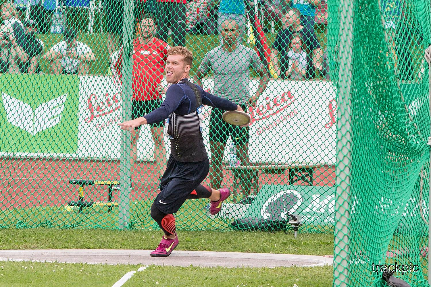 Kevin Mayer on the foreground, Kai Kazmirek and Damian Warner behind the cage. Photo by Olavi Kaljunen / trackpic.net